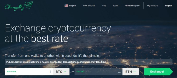 Changelly landing page