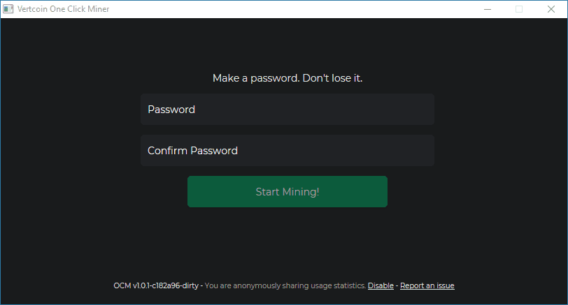 Create Password for Vertcoin One-Click Miner