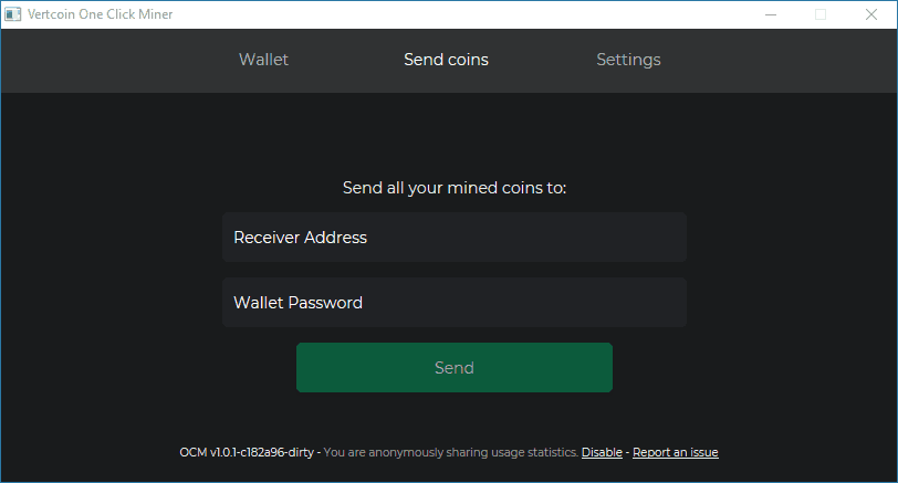 Send Mined Vertcoin to an External Wallet