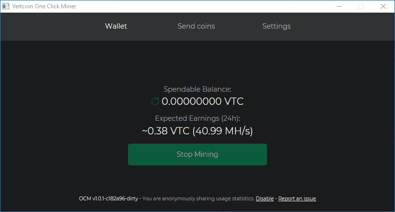 Vertcoin One-Click Miner Running Example