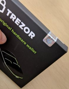 Anti-tamper seal on the Trezor One packaging