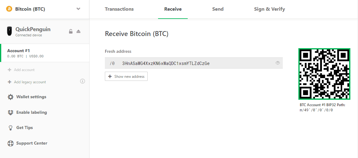 Receiving address for Trezor Model T bitcoin (BTC) wallet