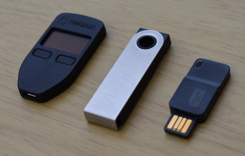 Trezor vs Ledger Nano S vs Digital BitBox (Angled Shot)