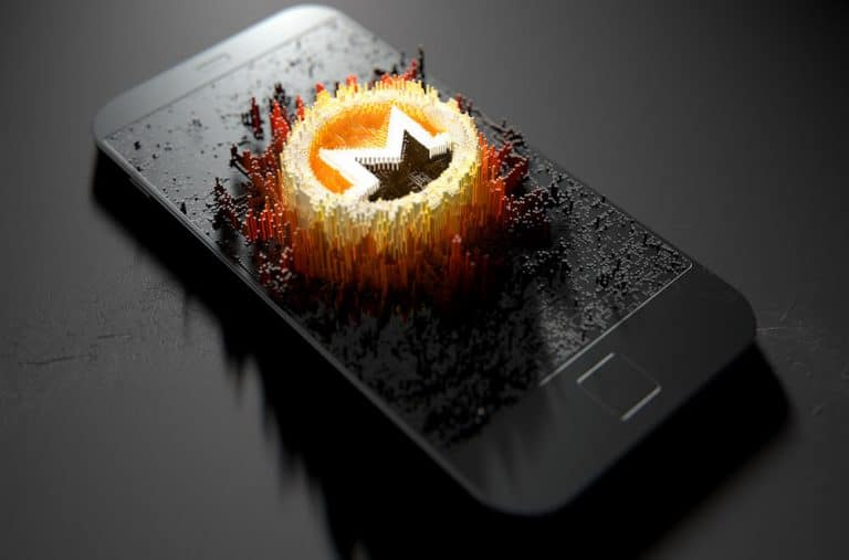 Monero (XMR) bursting out of a mobile phone