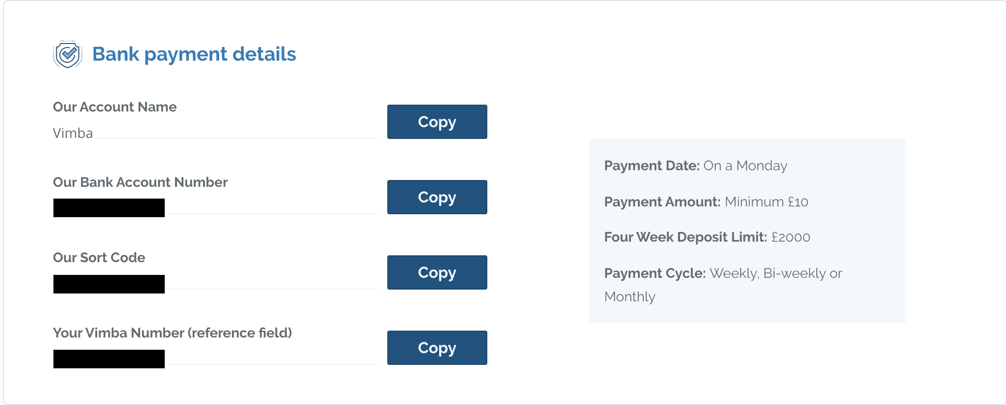 Payment details for Vimba.co