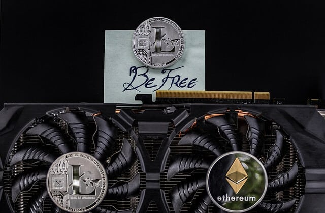 Litecoin with computer graphics card for cryptocurrency mining